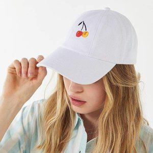 Urban Outfitters White Embroidered Cherry Dad Cap